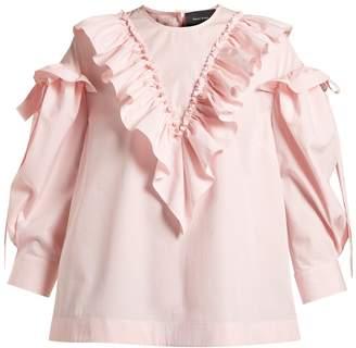 Simone Rocha Ruffled-trim cotton blouse
