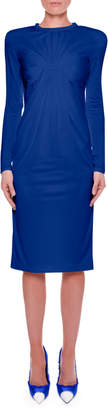 Tom Ford Hand-Pleated Bust Sheath Dress with Strong Shoulders