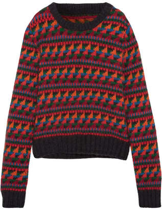 Intarsia Wool-blend Sweater - Red