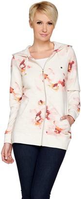 Isaac Mizrahi Live! SOHO Zip Up Floral Printed Hoodie