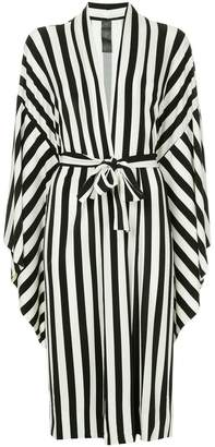 Norma Kamali striped belted shirt dress