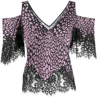 McQ cold-shoulder printed top