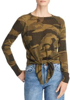 Olivaceous Camo Long Sleeve Tie-Front Top