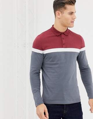 Asos Design DESIGN long sleeve polo shirt with contrast body and sleeve  panels in grey caa81dd679f9