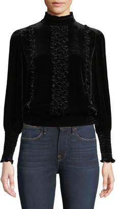 Frame Mock-Neck Long-Sleeve Button-Back Ruffled Velvet Top