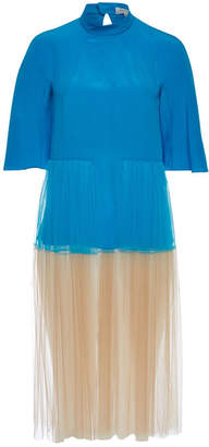 DELPOZO Silk Dress with Tulle Skirt