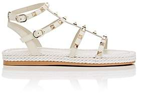 Valentino Women's Rockstud Torchon Leather Platform Sandals-White