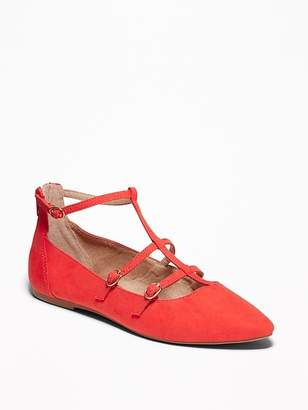 Old Navy Faux-Suede T-Strap Pointed-Toe Ballet Flats for Women