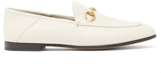 Gucci Brixton Collapsible Heel Leather Loafers - Womens - White