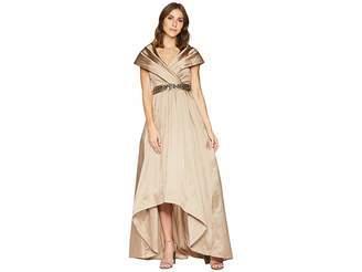 Adrianna Papell Silky Taffeta Shawl Gown