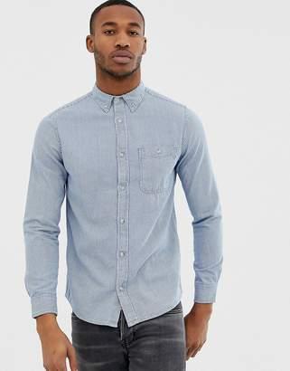 Burton Menswear denim shirt in fine blue stripe