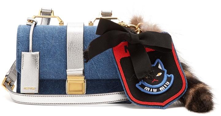 Miu Miu MIU MIU Racoon-trimmed denim cross-body bag