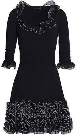 Ruffled Open-Knit And Ponte Mini Dress