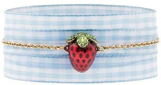 Miu Miu Gold Gingham Ladybird Pendant Bracelet