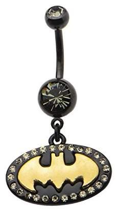 DC Comics Unisex Batman Gold Logo Dangle Navel Rings-14 Gauge (7/16 Inch)