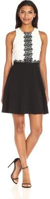Jessica Simpson Fancy  Women's Chemical Lace Fit and Flare Dress, Ivory/Black