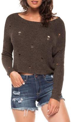 Dex Long-Sleeve Distressed Crop Sweater