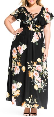 City Chic Tuscan Rose Maxi Dress
