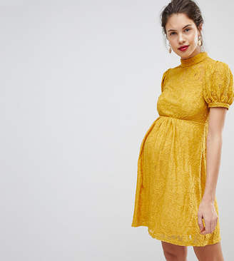 Asos Mini Lace Dress With Puff Sleeve