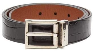 Givenchy Reversible Crocodile Effect Leather Belt - Mens - Black Brown
