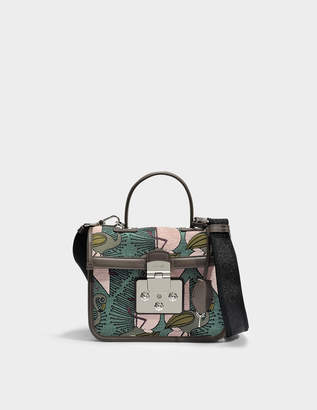 Furla Fenice Small Top Handle Bag in Multicolour Cotton