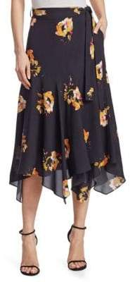 A.L.C. Borden Floral Silk Midi Skirt