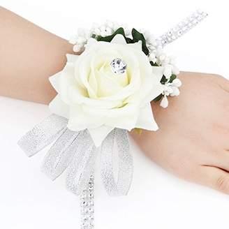 FAYBOX Velvet Open Rose Silvery Bling Ribbon Rhinestone Stretch Bracelet Wedding Prom Wrist Corsage Hand Flower Pack of 2 Ivory
