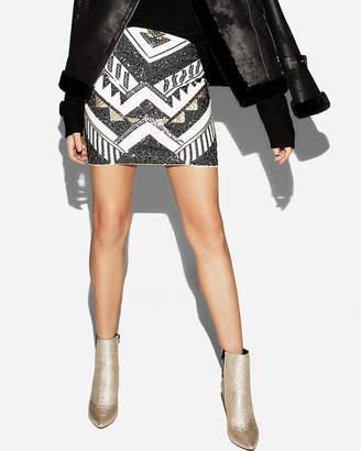 Express Petite Sequin Mini Skirt