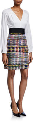 Milly Nicola Multicolor Sparkle Tweed Deep V-Neck Dress