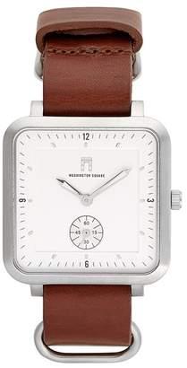 Washington Square Watches Men's Brown Strap White Dial Watch, 38mm x 44mm