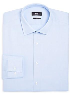 Micro-Contrast Slim Fit Dress Shirt