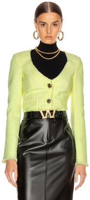 Alexander Wang Bias Tweed Cardigan Jacket in Highlighter | FWRD