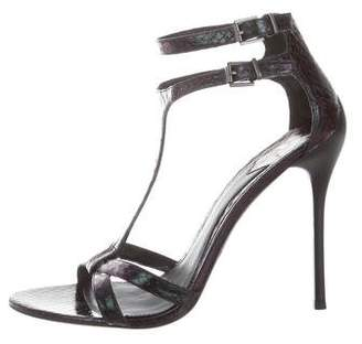 Brian Atwood Iridescent T-Strap Sandals