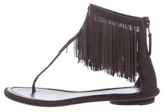 B Brian Atwood Fringe-Trimmed T-Strap Sandals $95 thestylecure.com