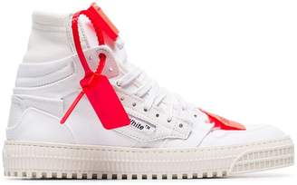 Off-White white off-court canvas and leather high top sneakers