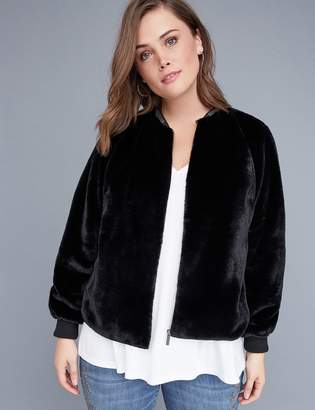 Lane Bryant Fast Lane Faux Fur Bomber Jacket with Embellished Neckline