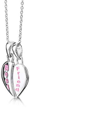 Jo for Girls Sterling Silver Best Friend Split Heart Pendant 1 Chain & Box of Length 35.5 cm
