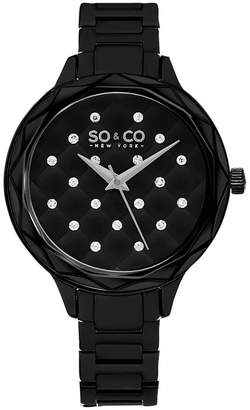 Co SO & Ny Women'S Black Dial Faceted Crystal Quilted With Scattered Crystals Black Link Bracelet Dress Quartz Watch J160P79