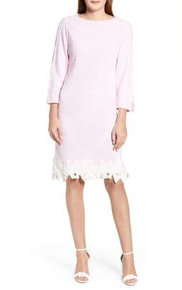 Ming Wang Lace Trim Knit Dress