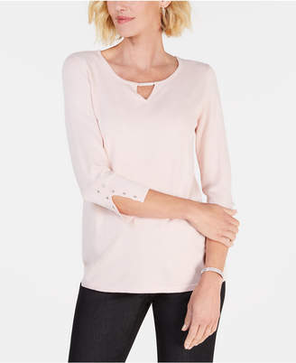 JM Collection Beaded Keyhole Top