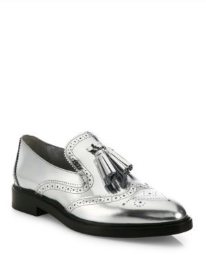 Burberry Halsmoor Metallic Leather Tassel Loafers $675 thestylecure.com