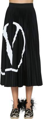 Valentino V Logo Pleated Jersey Midi Skirt