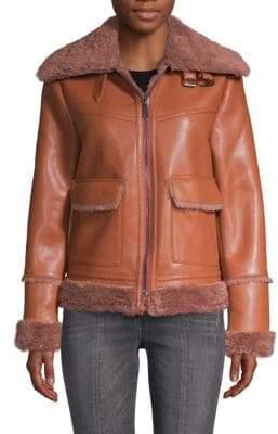 Bagatelle Faux Fur-Trimmed Faux Leather Jacket