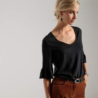 Anne Weyburn Cotton Tunic T-Shirt with Flared Sleeves