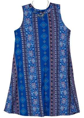Amy Byer Print Jersey Sleeveless Dress with Necklace (Big Girls)