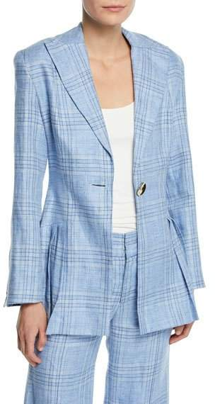 Suit Yourself Linen Check Peplum Blazer