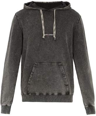Saint Laurent Logo-print washed hooded sweatshirt