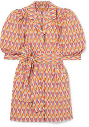 DAY Birger et Mikkelsen LHD - Casita Belted Printed Stretch-cotton Broadcloth Midi Dress - Orange