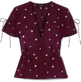 Madewell Belle Printed Silk Top - Burgundy