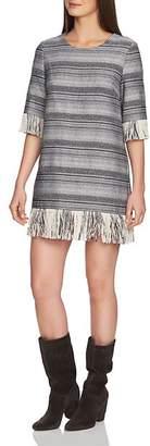 1 STATE 1.STATE Geo Stripe Fringe Shift Dress